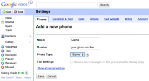 Add your Gizmo5 number to Google Voice