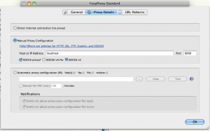 FoxyProxy settings for ssh server